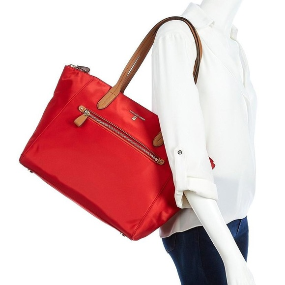 bd40b4d48c36 Michael Kors Kelsey Medium Bright Red Nylon Tote. NWT